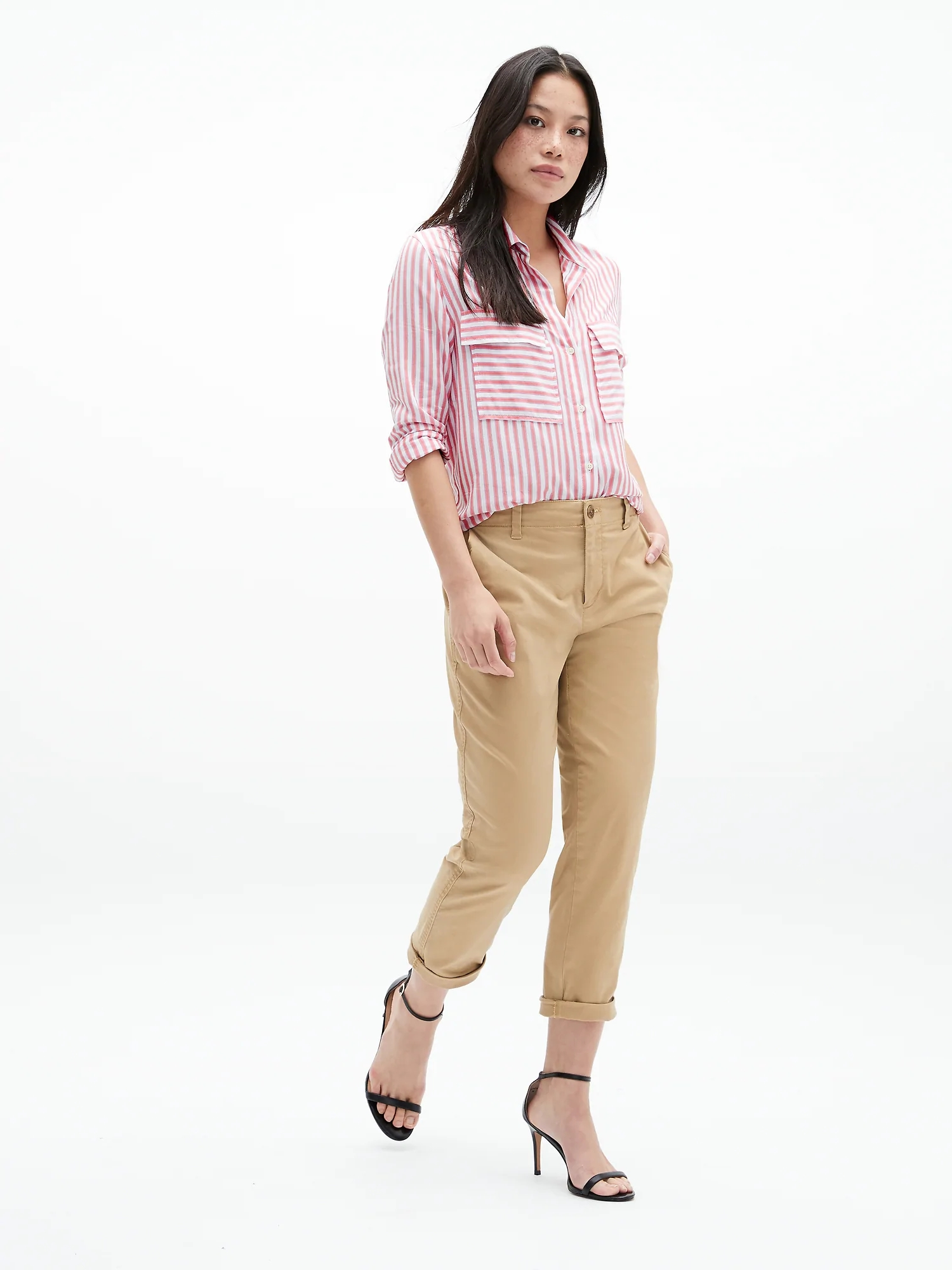 Kalhoty girlfriend khakis in stretch twill (2)