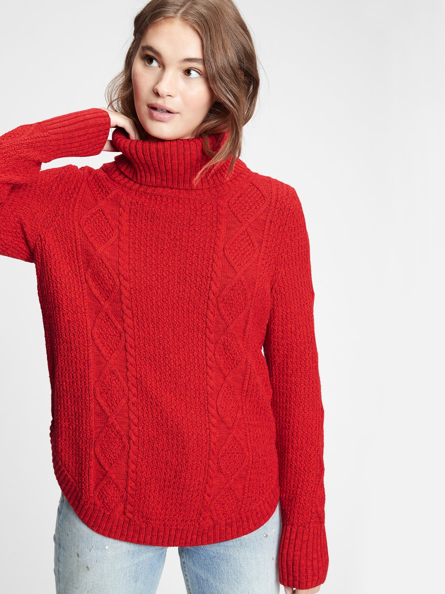 Svetr cable knit turtleneck sweater (1)