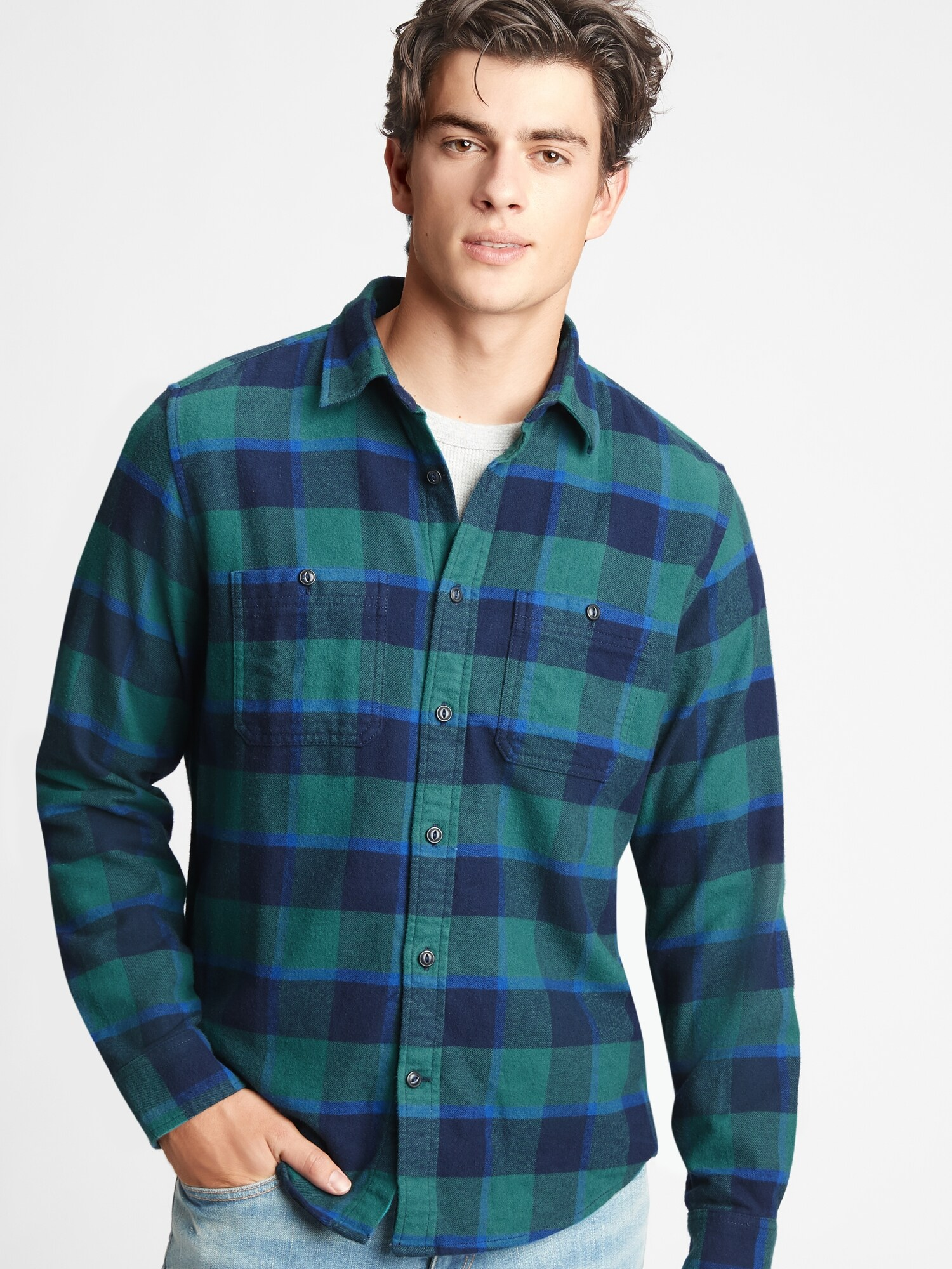 Košile flannel shirt in untucked fit (1)
