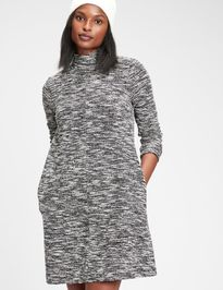 Šaty bouclac mockneck swing dress