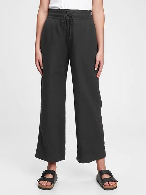 Kalhoty high rise wide-leg pants in linen-cotton