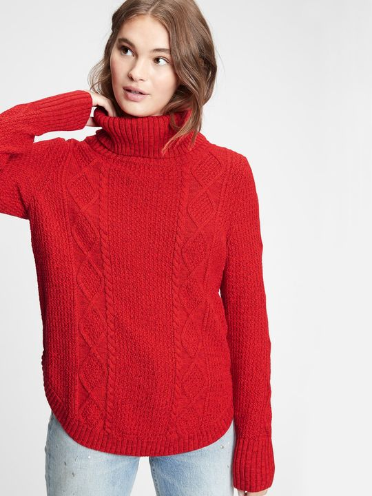 Svetr cable knit turtleneck sweater